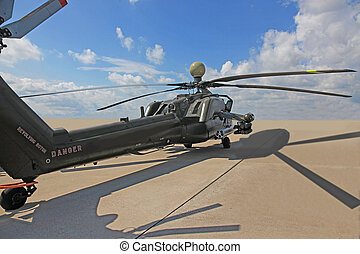 russian attack helicopter Mi 28 armed with rockets bombs...