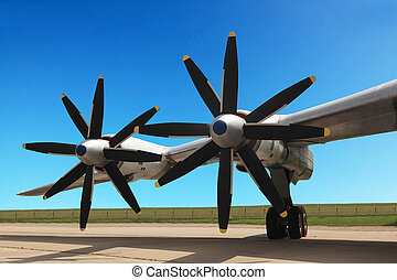 wing of the TU-95 bomber - The Russian military jet...