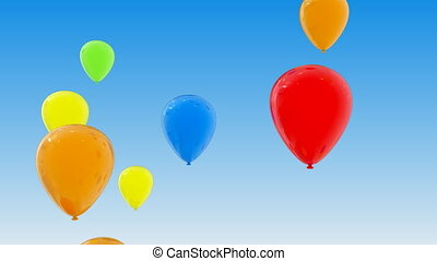 Flying Balloons - Colorful balloons fly in the sky Alpha...
