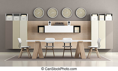 white and brown modern boardroom