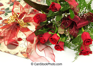 Anniversary - Gift box and roses Birthday present with...