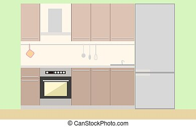 Kitchen furniture and stuff flat image in vector