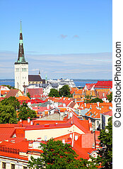 Old town of Tallin - Vew of Old town of Tallin with St....