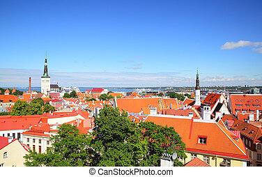 Old town of Tallin - Panoramic view of Old town of Tallin,...