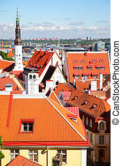 Tiled roofs of Old town of Tallin - Red tiled roofs of Old...
