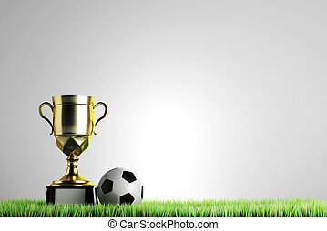 Championship concept - Golden winner's cup with football...