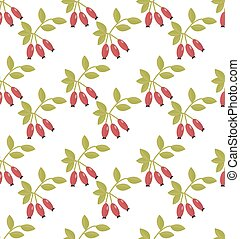 Rosehip seamless pattern. Hawthorn endless background. Red...