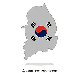 map with south korean flag