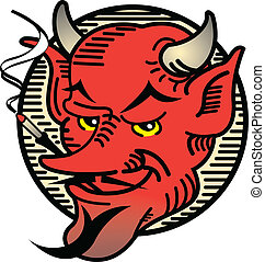 Tattoo Design Smoking Devil Art - Tattoo design of a vintage...