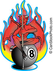 Tattoo Design Devil 8 Ball Clip Art - Tattoo design of a...