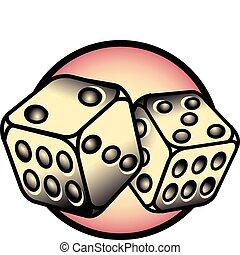 Tattoo Design Lucky 7 Dice Clip Art - Tattoo design of two...