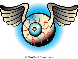 Tattoo Design Eyeballs Clip Art - Tattoo design of a flying...