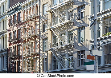 New York, cast iron architecture buildings in Soho