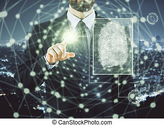 Access and biometrics concept - Businessman pointing at...