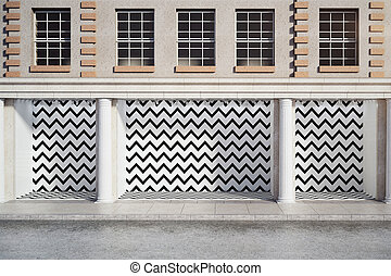 Blank zigzag storefront - Front view of blank zigzag...
