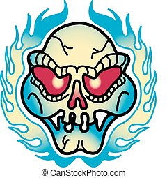 Tattoo Design Skull Flames Clip Art