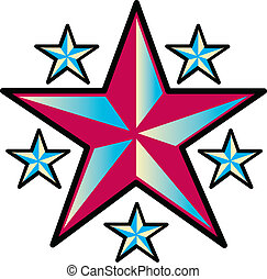 Tattoo Design Stars Clip Art - Tattoo design of six western...