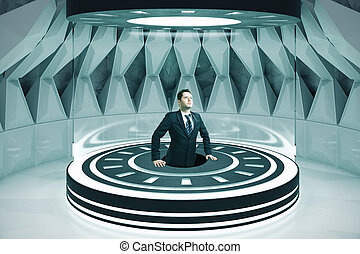 Location concept - Room interior with businessman in...