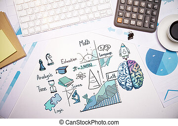 Analytical mind concept - Top view of white office desktop...
