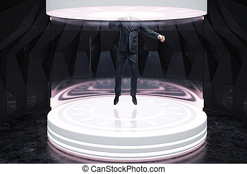 Fiction concept - Room interior with businessman in abstract...