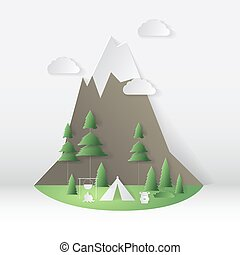 Summer camping paper cut style. Concept with mountain, trees. Vector illustration