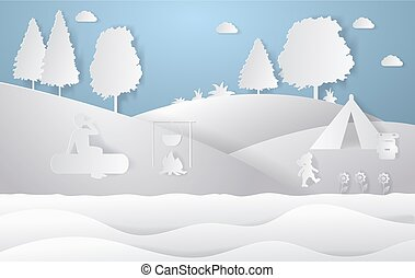 Design of nature landscape. Colorful paper cut style. Camping vector illustration