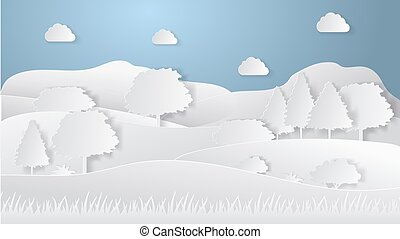Summer camping paper cut style. Concept with hills, trees. Vector illustration