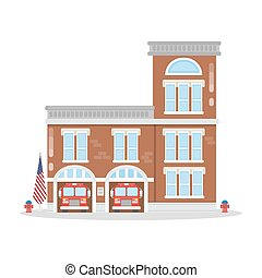 Fire department building. - Isolated fire department...