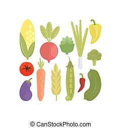 Isolated vegetables set.