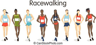 Isolated racewalking illustration.