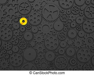 Gears and cogs with one different colored in gold. 3d...