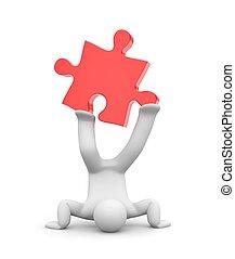 3d man push puzzle. 3d illustration