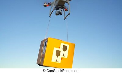 Drone delivering package on the sky background - Drone...
