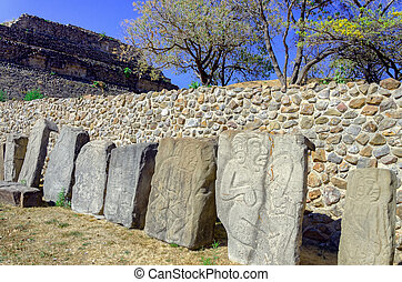 Stones of the Dancers in the Plaza in Monte Alban Ruins in...