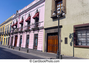 Colonial Houses in Street in Downtown Puebla - Colonial...