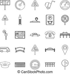 Pavement icons set, outline style - Pavement icons set....