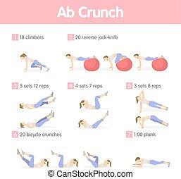Abs exercises set.