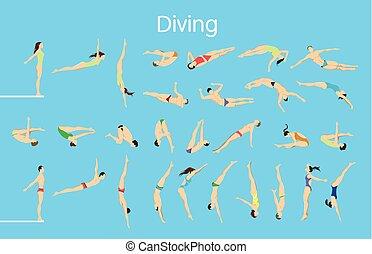 Diving set illustration.