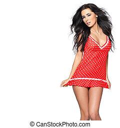 Sexy, rojo, lenceria