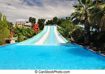 Water slide in amusement park, Marineland, French Riviera
