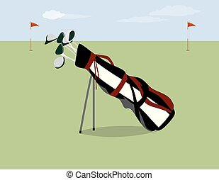 Golf bag on the field.