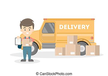 Courier with delivery truck.