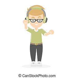 Boy with headphones.