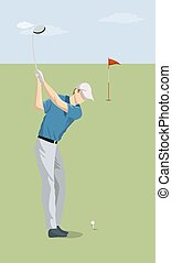 Golf player with club.