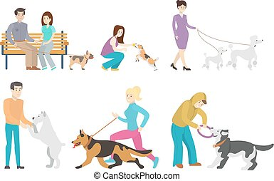 Dog walking set. Set of isolated illustrations of people...