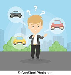 Choosing the car. Confused man decides what car to choose.