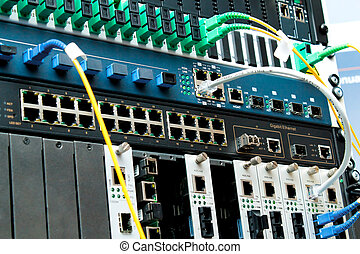 PON Technology center with fiber optic equipment - PON...