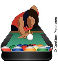 billiards player female - billiards player, female, taking...