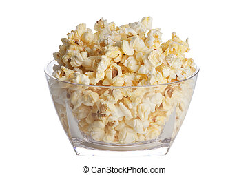 Popcorn - Bowl of popcorn isolatated on a white background...