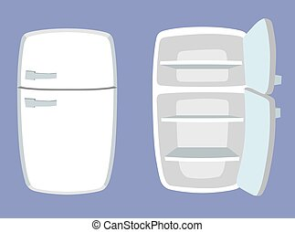 Fridge in cartoon style. Open and closed refrigerator.